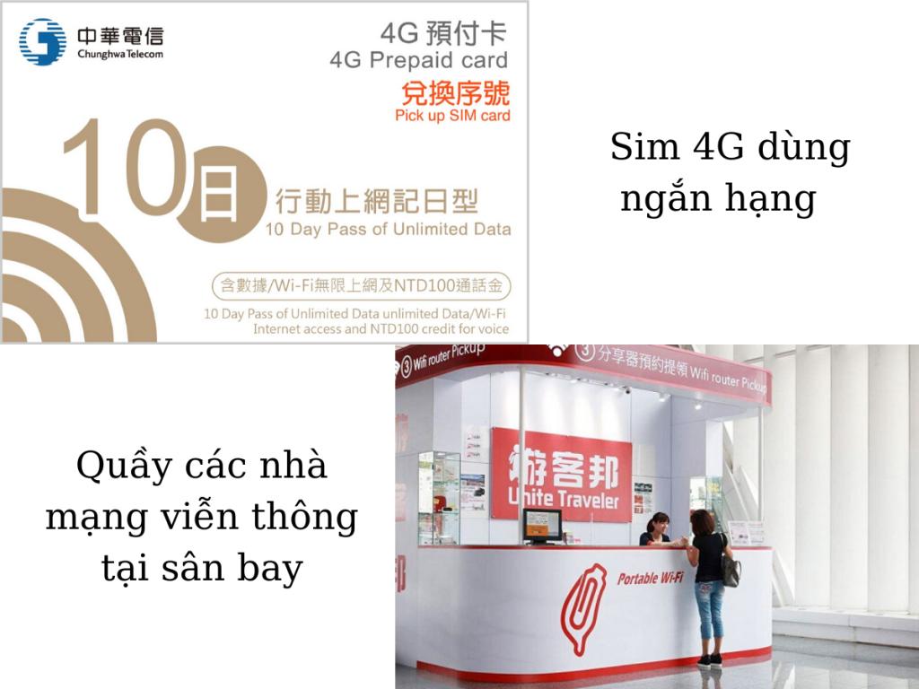 Sim 4G và quầy của các nhà mạng viễn thông tại sân bay
